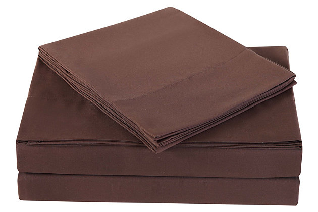 Microfiber Truly Soft Twin Sheet Set, Chocolate, large