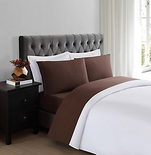 3 Piece Twin Truly Soft Everyday Brown Sheet Set, Chocolate, rollover