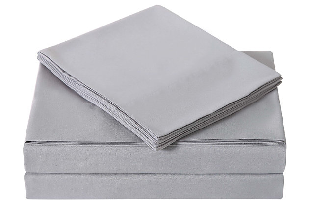 Microfiber Truly Soft Twin Sheet Set, Gray, large