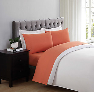 Microfiber Truly Soft Twin Sheet Set, Orange, rollover