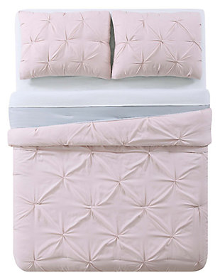2 Piece Twin XL Comforter Set, Blush/Gray, large