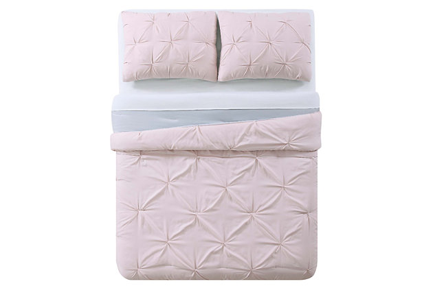 2 Piece Twin XL Comforter Set, Blush/Gray, large