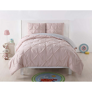 2 Piece Twin XL Comforter Set, Blush/Gray, rollover
