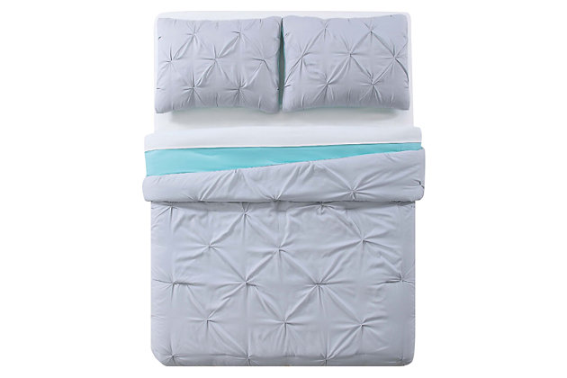 2 Piece Twin XL Comforter Set, Gray/Turquoise, large