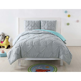 2 Piece Twin XL Comforter Set, Gray/Turquoise, rollover