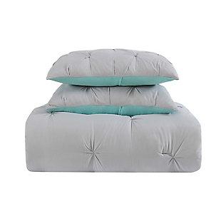 2 Piece Twin XL Duvet Set, Gray/Turquoise, large