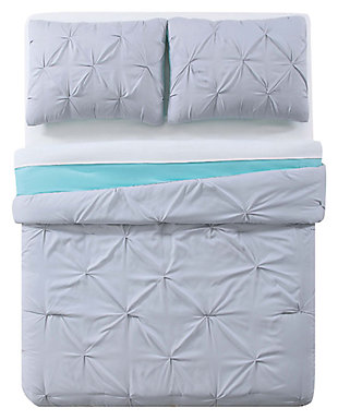 2 Piece Twin XL Duvet Set, Gray/Turquoise, large