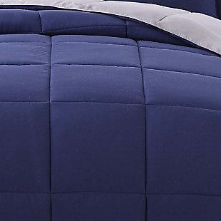 2 Piece Twin XL Comforter Set, Navy/Gray, rollover