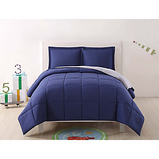2 Piece Twin XL Comforter Set, Navy/Gray, large