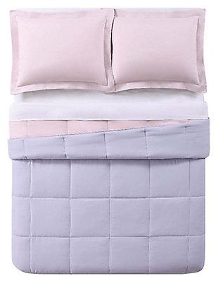 3 Piece Full/Queen Comforter Set, Lavender/Blush, large