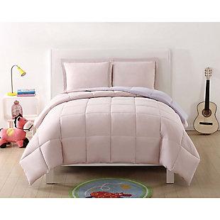 3 Piece Full/Queen Comforter Set, Lavender/Blush, rollover