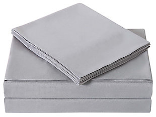 3 Piece Twin Sheet Set, Gray, large