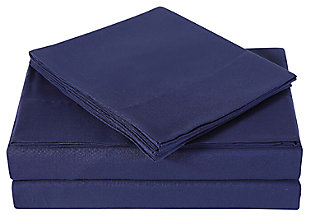 3 Piece Twin Sheet Set, Navy, large