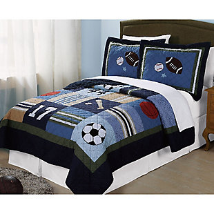 2 Piece Twin Quilt Set, Multi, rollover