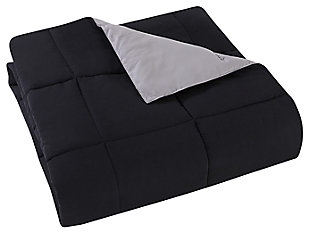 2 Piece Twin XL Comforter Set, Black/Gray, large