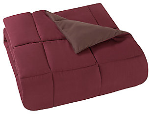 2 Piece Twin XL Comforter Set, Brown/Burgundy, large