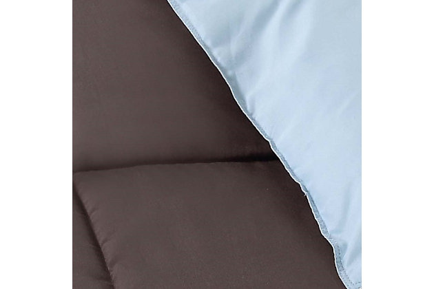 2 Piece Twin XL Comforter Set, Chocolate/Blue, large