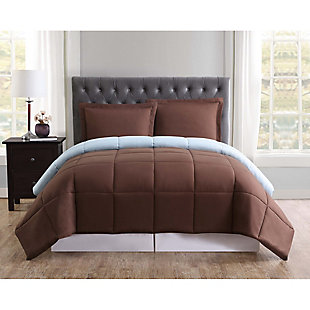 2 Piece Twin XL Comforter Set, Chocolate/Blue, rollover