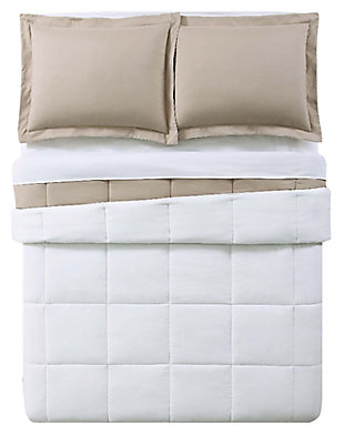2 Piece Twin XL Comforter Set, Khaki/Ivory, large