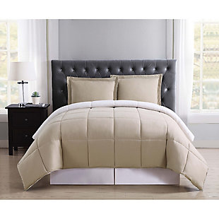 2 Piece Twin XL Comforter Set, Khaki/Ivory, rollover