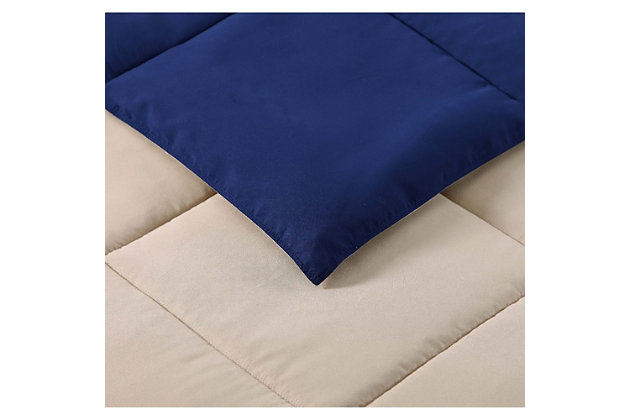 2 Piece Twin XL Comforter Set, Khaki/Navy, large