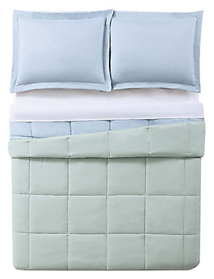 2 Piece Twin XL Comforter Set, Light Blue/Sage, large