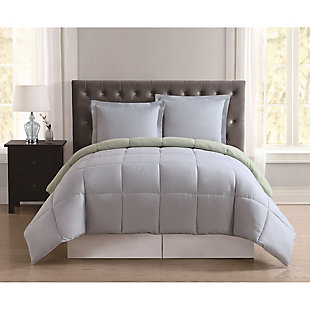 2 Piece Twin XL Comforter Set, Light Blue/Sage, rollover