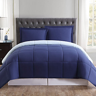 2 Piece Twin XL Comforter Set, Navy/Light Blue, rollover