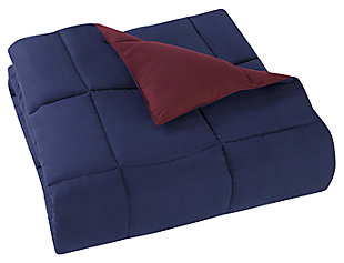 2 Piece Twin XL Comforter Set, Navy/Burgundy, large