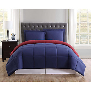 2 Piece Twin XL Comforter Set, Navy/Burgundy, rollover