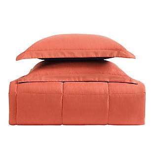 2 Piece Twin XL Comforter Set, Navy/Orange, large