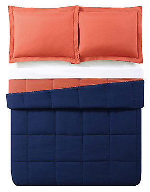2 Piece Twin XL Comforter Set, Navy/Orange, large