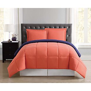 2 Piece Twin XL Comforter Set, Navy/Orange, rollover