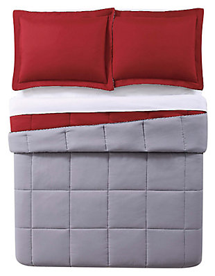 2 Piece Twin XL Comforter Set, Red/Gray, large