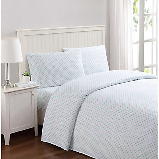 3 Piece Twin Sheet Set, Aqua, rollover