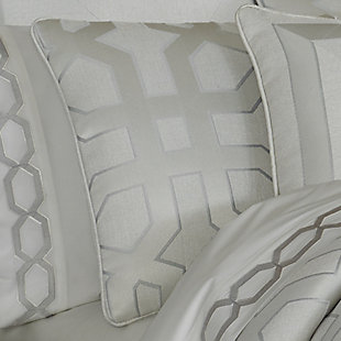 Geometric 4-Piece Queen Comforter Set, Sterling, large