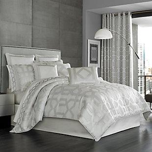 Geometric 4-Piece Queen Comforter Set, Sterling, rollover