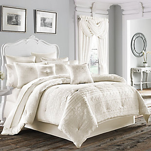Woven Jacquard 4-Piece Queen Comforter Set, White, rollover