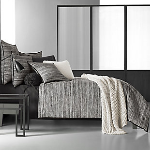 Cotton Full/Queen Duvet Cover, Black/Gray, large