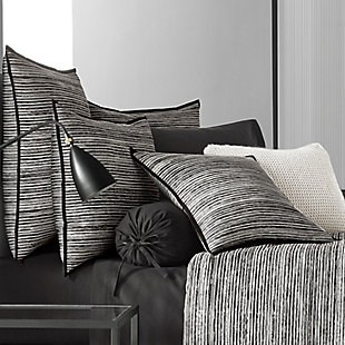 Cotton 4-Piece King Comforter Set, Black/Gray, large