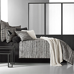 Cotton 4-Piece Queen Comforter Set, Black/Gray, large