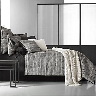 Cotton 4-Piece Queen Comforter Set, Black/Gray, rollover