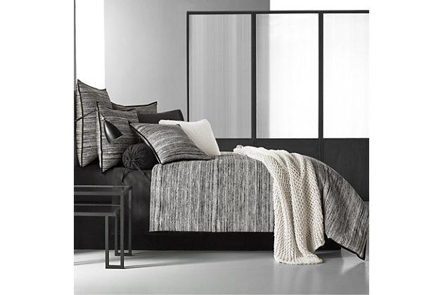 Cotton 4-Piece California King Comforter Set, Black/Gray, large