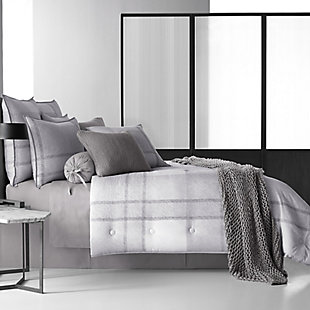 Cotton 4-Piece King Comforter Set, Gray, large