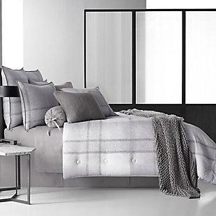 Cotton 4-Piece Queen Comforter Set, Gray, rollover