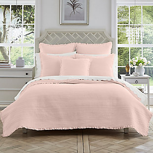 Quilted Full/Queen Coverlet, Blush Pink, rollover