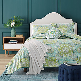 Bohemian Full/Queen Coverlet, Green, large
