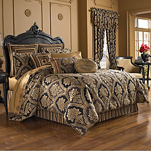 Woven Jaquard 4-Piece Queen Comforter Set, Chocolate, large