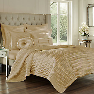 Geometric Full/Queen Coverlet, Gold, large