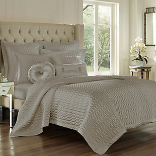 Geometric Full/Queen Coverlet, Sterling, large